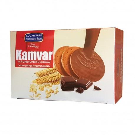 بیسکویت با سبوس فرآوری شده با روکش شکلات کامور